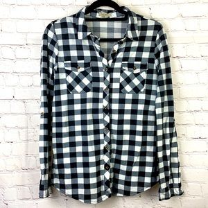 Passport Black & White Plaid button up casual top